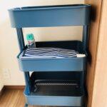 IKEA RASKOGのダークブルーを玄関に!幼稚園グッズの収納に便利